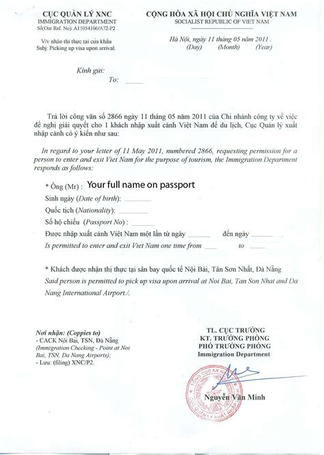 Sle Letter For Visa Approval Visa On Arrival Visa Approval Letter