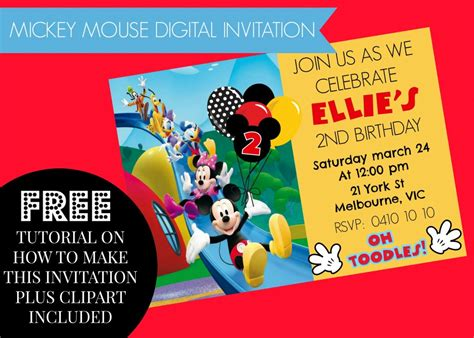mickey mouse clubhouse party invitations free mous on mickey mouse