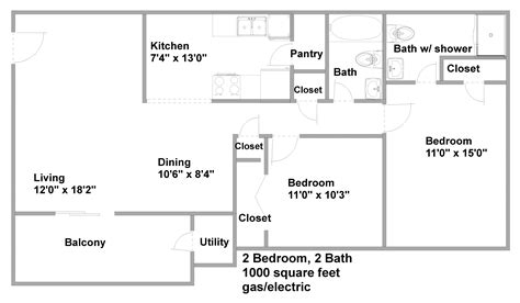 1000 sq ft apartment floor plans pricing