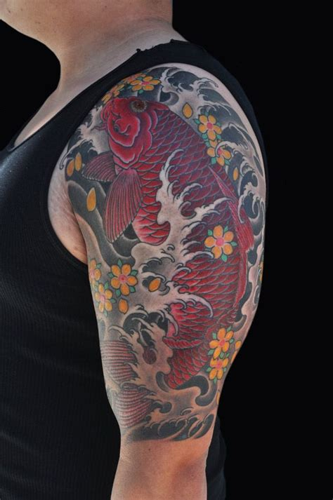 japanese traditional koi fish tattoo by luke stewart