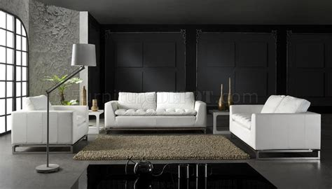 top grain leather 3 piece modern living room set manhattan white