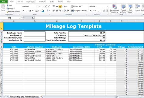 Mileage Log Excel Mileage Log Excel Template Excel Tmp