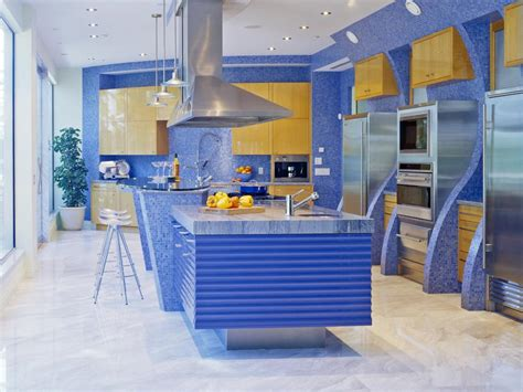 blue kitchen design a splash of color 13 colorful kitchen design ideas