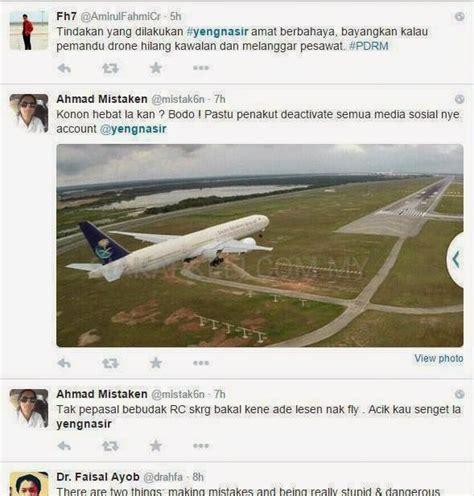 Drone Di Malaysia hobi bahaya lelaki ambil gambar kapal terbang mendarat di