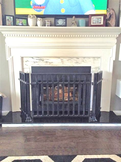 custom screen for fireplace to be safe for children
