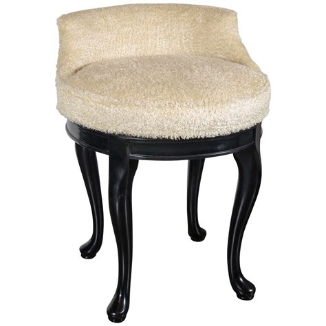Swivel Vanity Stool 1940s Swivel Vanity Stool In Faux Lambs Wool And Ebonized Walnut For Sale At 1stdibs