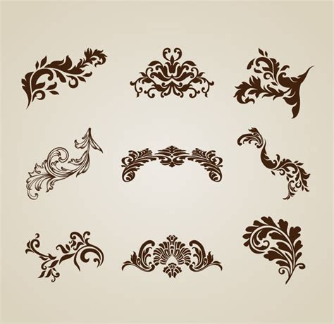 beautiful design vintage beautiful design elements vector set free vector