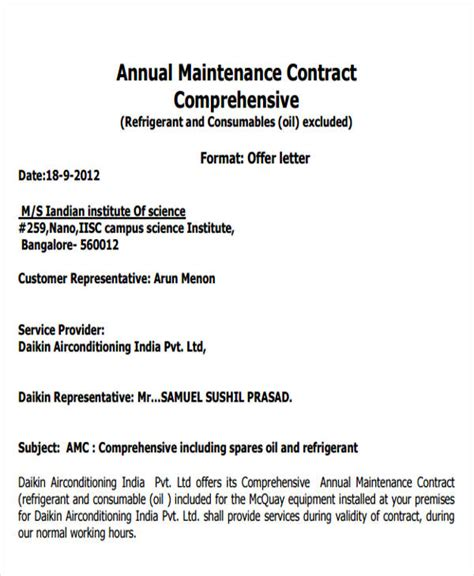 Service Agreement Offer Letter Maintenance Contract Template Ne0195 Service Equipment Maintenance Agreement Template
