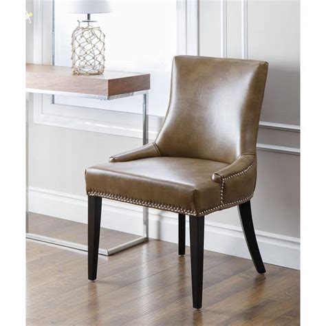 Baxton Studio Dylin Contemporary Dark Brown Faux Leather Leather Nailhead Dining Chairs