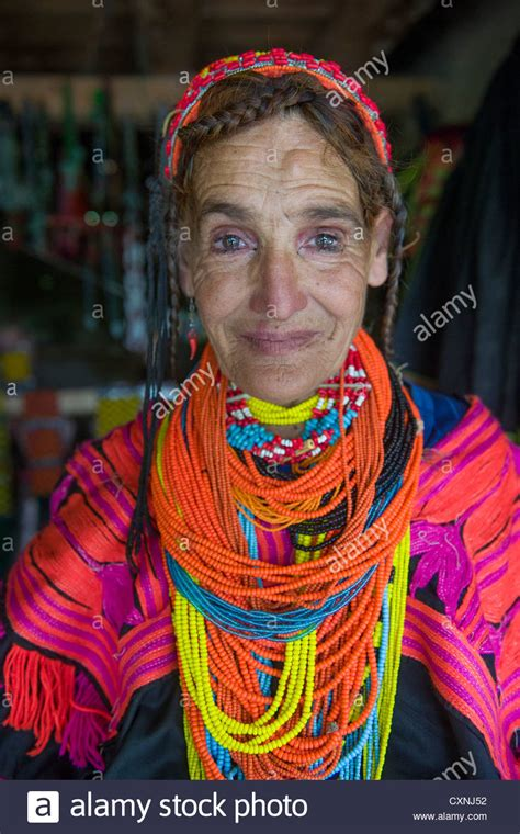 kalash women kalash woman in traditional dress with ornate necklaces