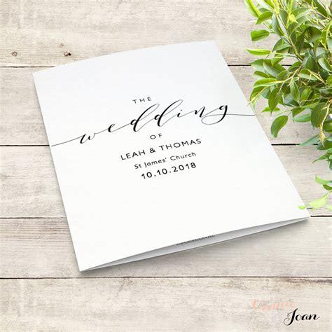romantic wedding program template folded order  service