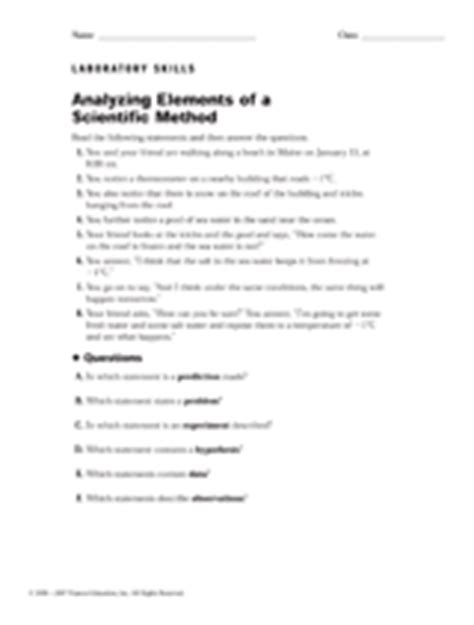 Analyzing The Elements Of A Scientific Method Worksheet Answers