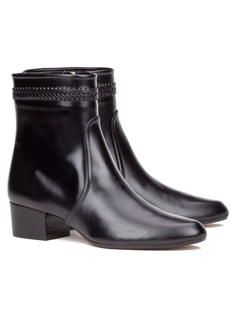 black leather ankle boots with heel low heel ankle boot in black leather shoe store