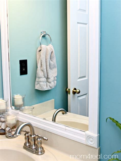 builder grade bathroom mirror budget bathroom makeover including framing out your