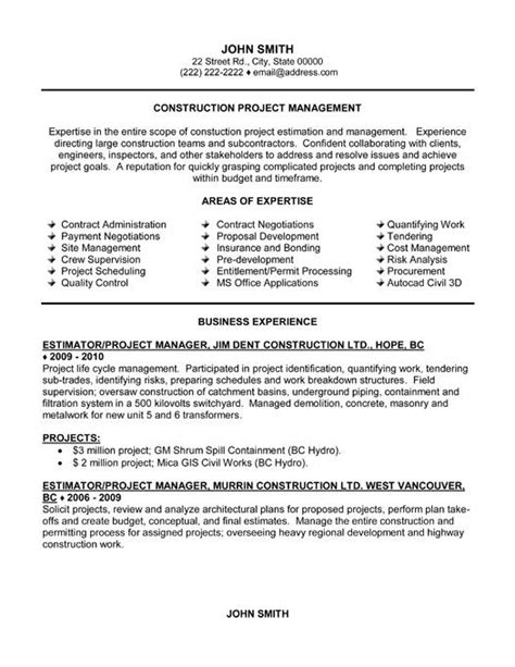 Resume Exles For Construction Supervisor 21 Best Images About Best Construction Resume Templates Sles On A Project Free