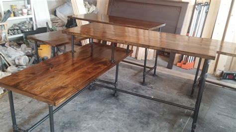 rustic l shaped desk rustic industrial l shaped two tier desk done with pipes