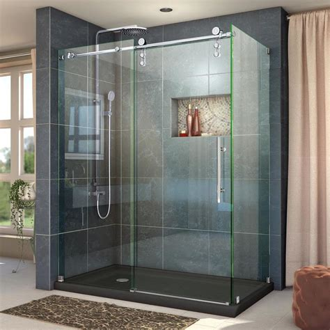 Showers With Sliding Doors Shop Dreamline Enigma Z 44 375 In To 48 375 In Frameless Polished Stainless Steel Sliding Shower