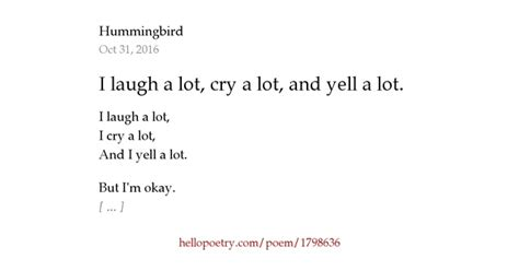 i laugh a lot cry a lot and yell a lot by hummingbird