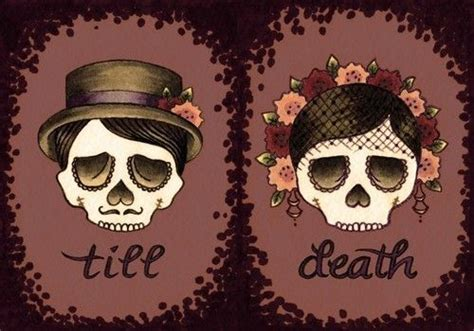 couple skull tattoos couples skull with flowers