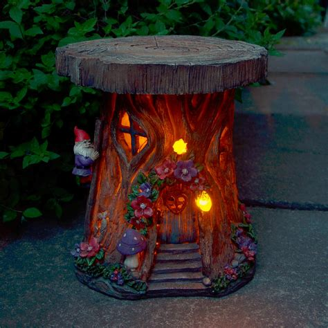 Lighted Outdoor Ornaments Solar Powered Tree House Led Garden Ornament Patio Outdoor Decoration Lighting