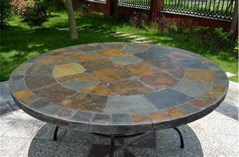 63 round slate outdoor patio dining table stone oceane