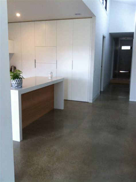 concrete kitchen floor kitchen with polished concrete floor white benchtop