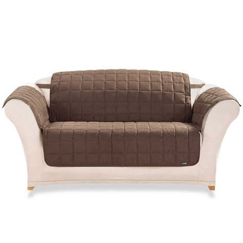 White Loveseat Slipcover Design With Dark Brown Sofa