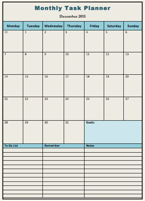 monthly task calendar template monthly task planner template microsoft office templates