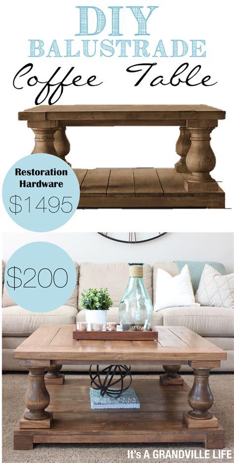 restoration hardware style table diy balustrade coffee table like restoration hardware