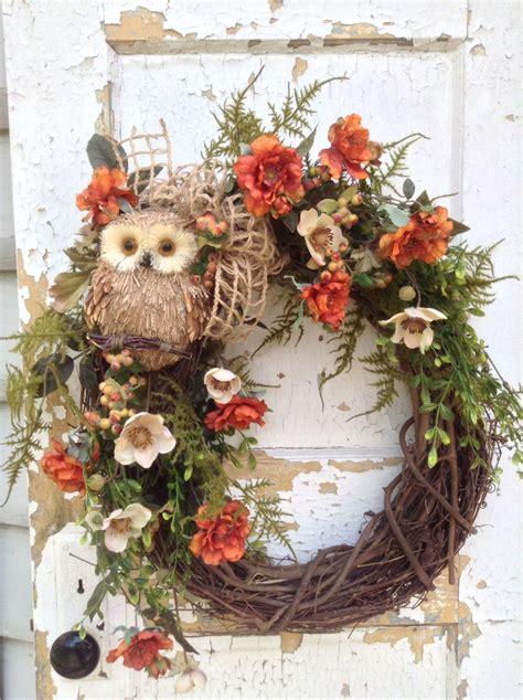 decorative fall wreaths fall wreath for door fall owl wreath front door wreath