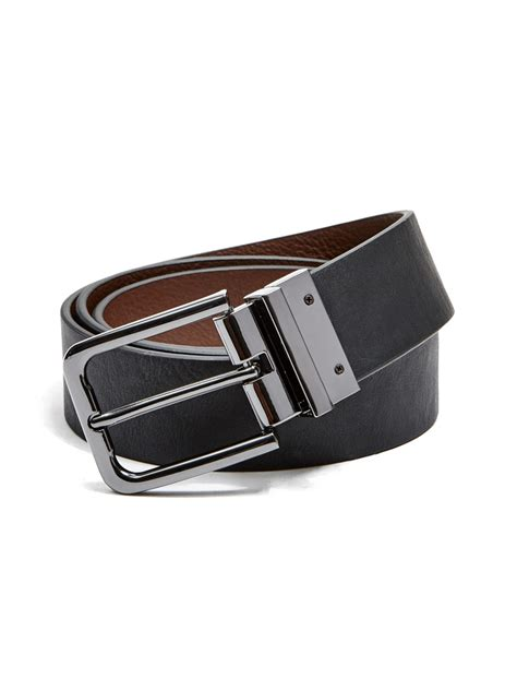 guess s reversible faux leather belt ebay