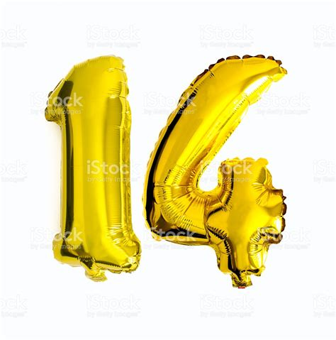 More From 14 by Number 14 Written With Foil Balloons Stock Photo More
