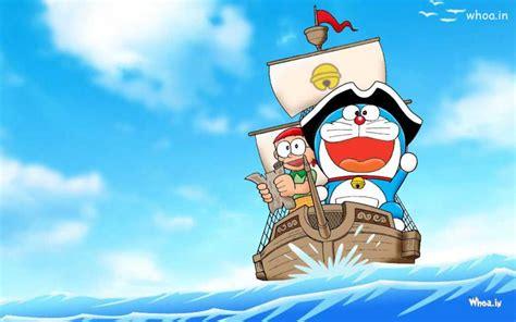 doraemon cartoon boat doraemon enjoy boating with other character hd wallpaper