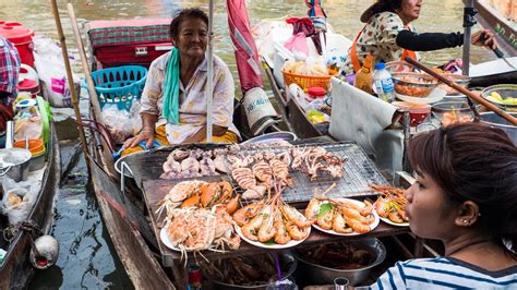 floating boat market thai food at hawa floating market thailand seafood