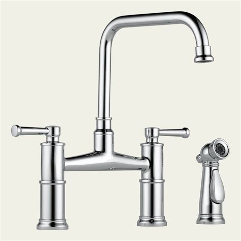 bridge faucets for kitchen 62525lf brizo two handle bridge kitchen faucet with spray