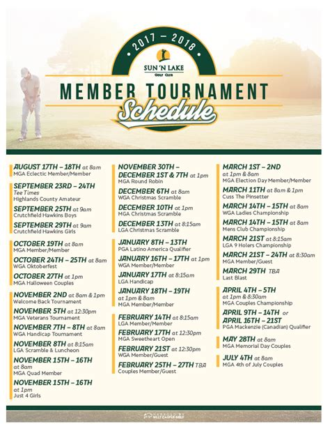 event calendar sun lake golf club