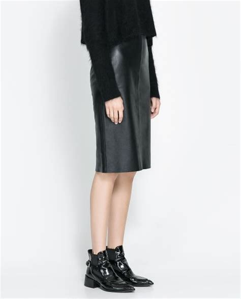 zara leather skirt in black lyst