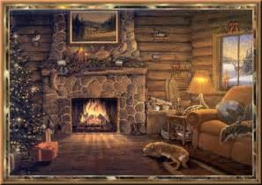 Thomas Kinkade Home Interiors Animated Log Cabin With Dog And Fireplace At Christmas