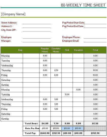 time card excel template bi weekly biweekly timesheet template excel cortezcolorado net