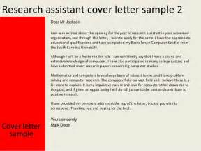 Computer Assistant Cover Letter by Research Assistant Cover Letter