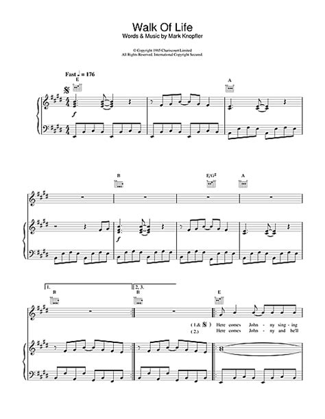 tutorial walk of life piano walk of life sheet music by dire straits piano vocal