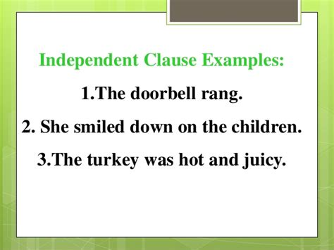 exle of independent clause clauses