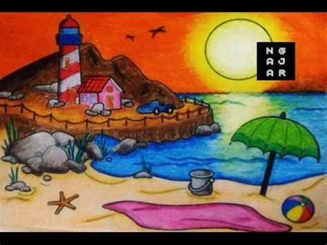 Crayon Crayon Warna Gambar mewarnai air laut pantai dengan crayon bagus hasilnya