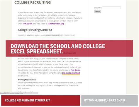 Ncaa Recruiting Spreadsheet by College Recruitment Starter Kit