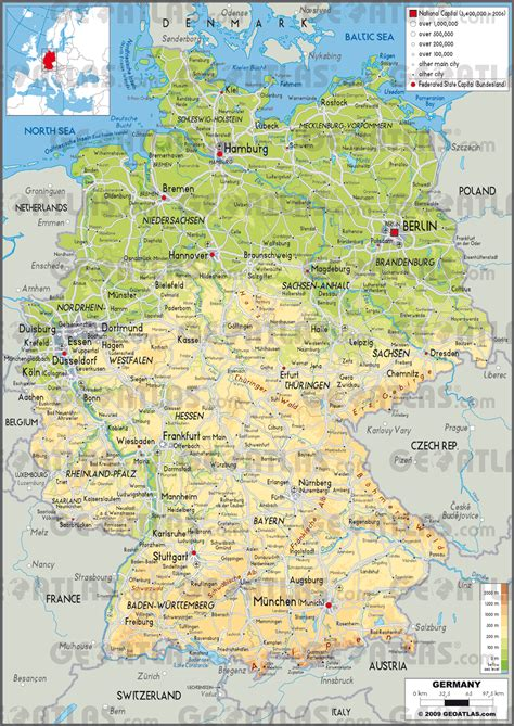 german physical map geoatlas countries germany map city illustrator