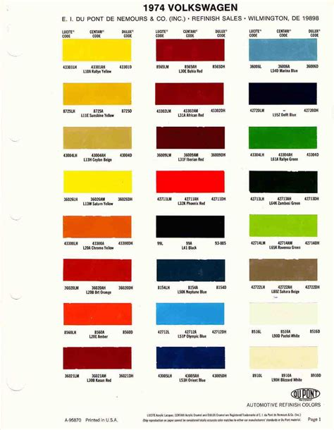 thesamba gallery 1974 vw paint codes from dupont