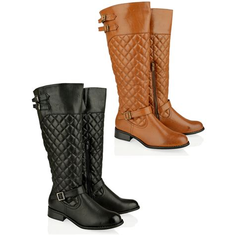 womens flat low heel knee high quilted wide fitting