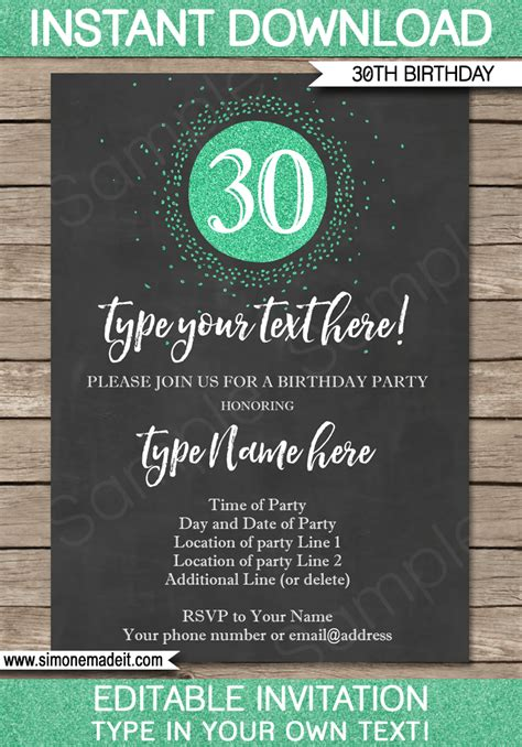 template for 30th birthday invitations 30th birthday invitation template chalkboard green glitter