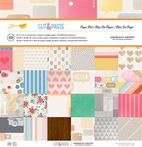 American Craft Paper - american crafts cut and paste 12 x 12 paper pad