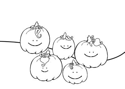 5 little pumpkind colouring pages